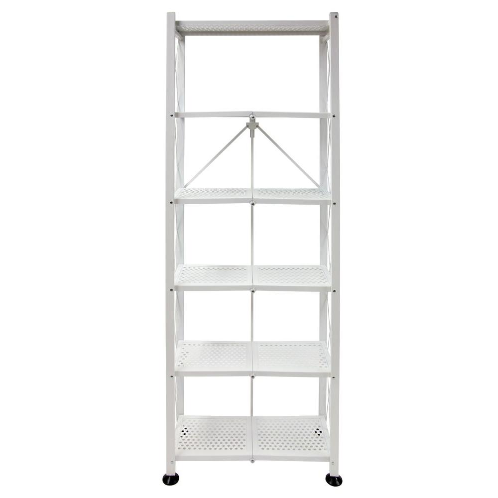 Merveilleux Origami 6 Tier Folding Multipurpose Bookcase In White