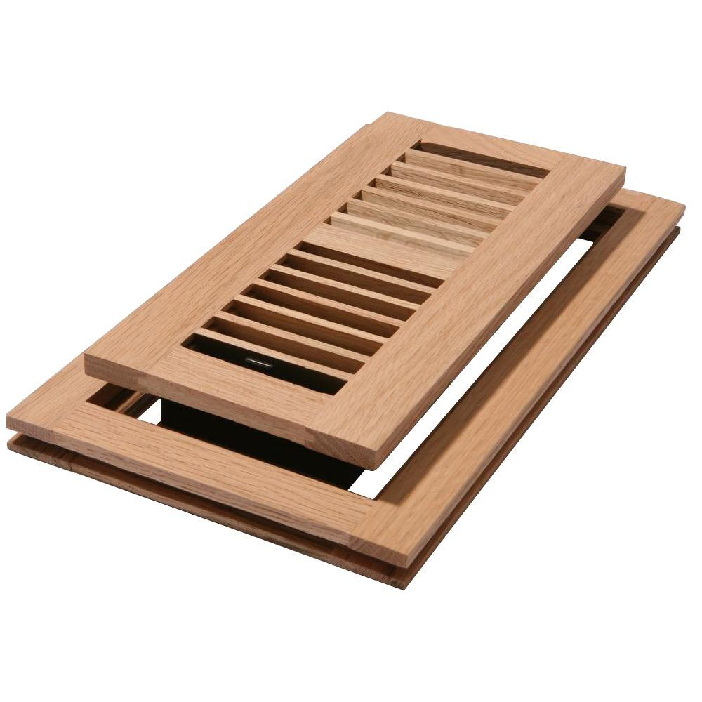 Decor Grates 4 in. x 14 in. Unfinished Oak Louvered Flushmount Register