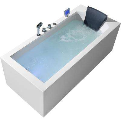 71 in. Acrylic Left Drain Rectangular Alcove Whirlpool Bathtub in White