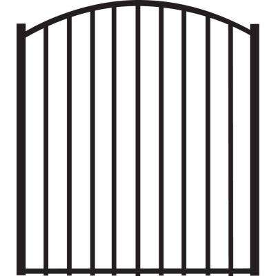 Beechmont Standard-Duty 4 ft. W x 4 ft. H Black Aluminum Arched Pre-Assembled Fence Gate
