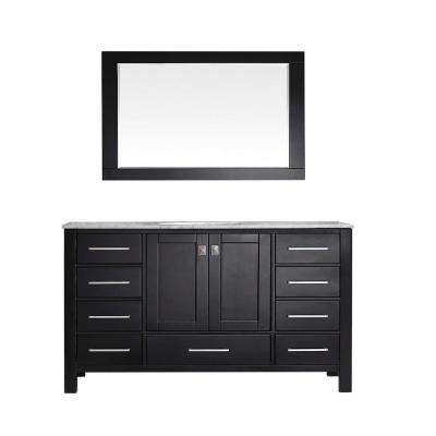 Aberdeen 60 in. W x 22 in. D x 34 in. H Vanity in Espresso with Carrara Top in White with White Basin