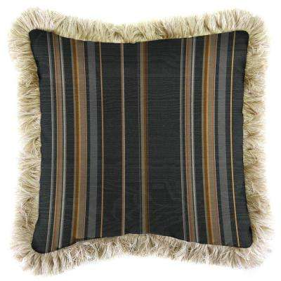 Sunbrella Stanton Greystone Square Outdoor Throw Pillow with Canvas Fringe