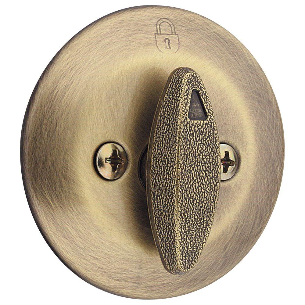 663 Series Antique Brass Single-Sided Thumbturn Only Deadbolt