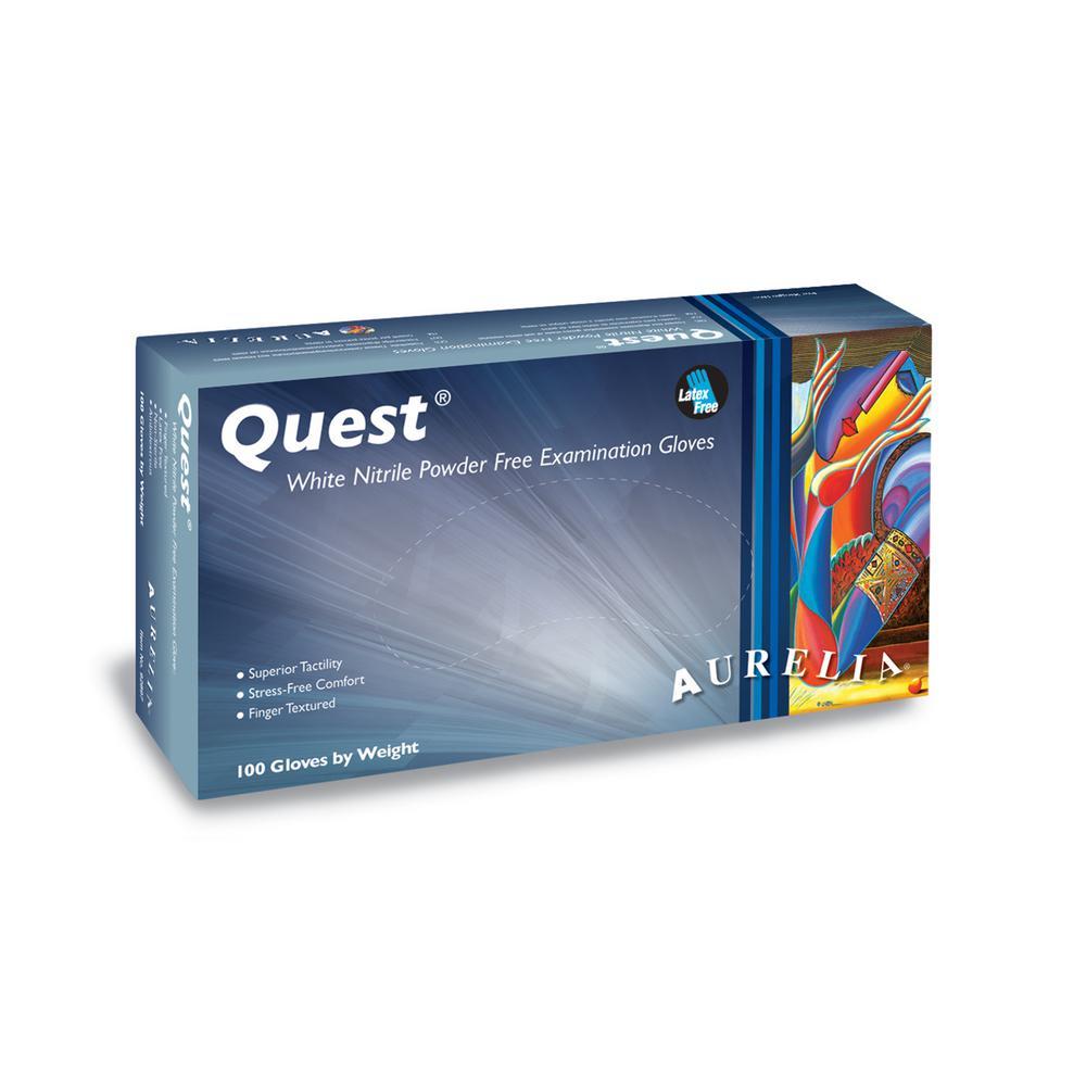 Quest Medium 3.5 mil White Finger Textured Nitrile Powder-Free Exam Gloves (100-Count, Case of 10)