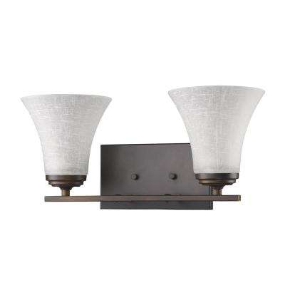 Union 2-Light Oil-Rubbed Bronze Vanity Light with Frosted Glass Shades