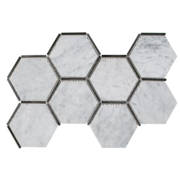 Laurel Nickel White 8.625 in. x 15.125 in. x 9 mm Hexagon Honed Marble and Metal Wall and Floor Mosaic Tile