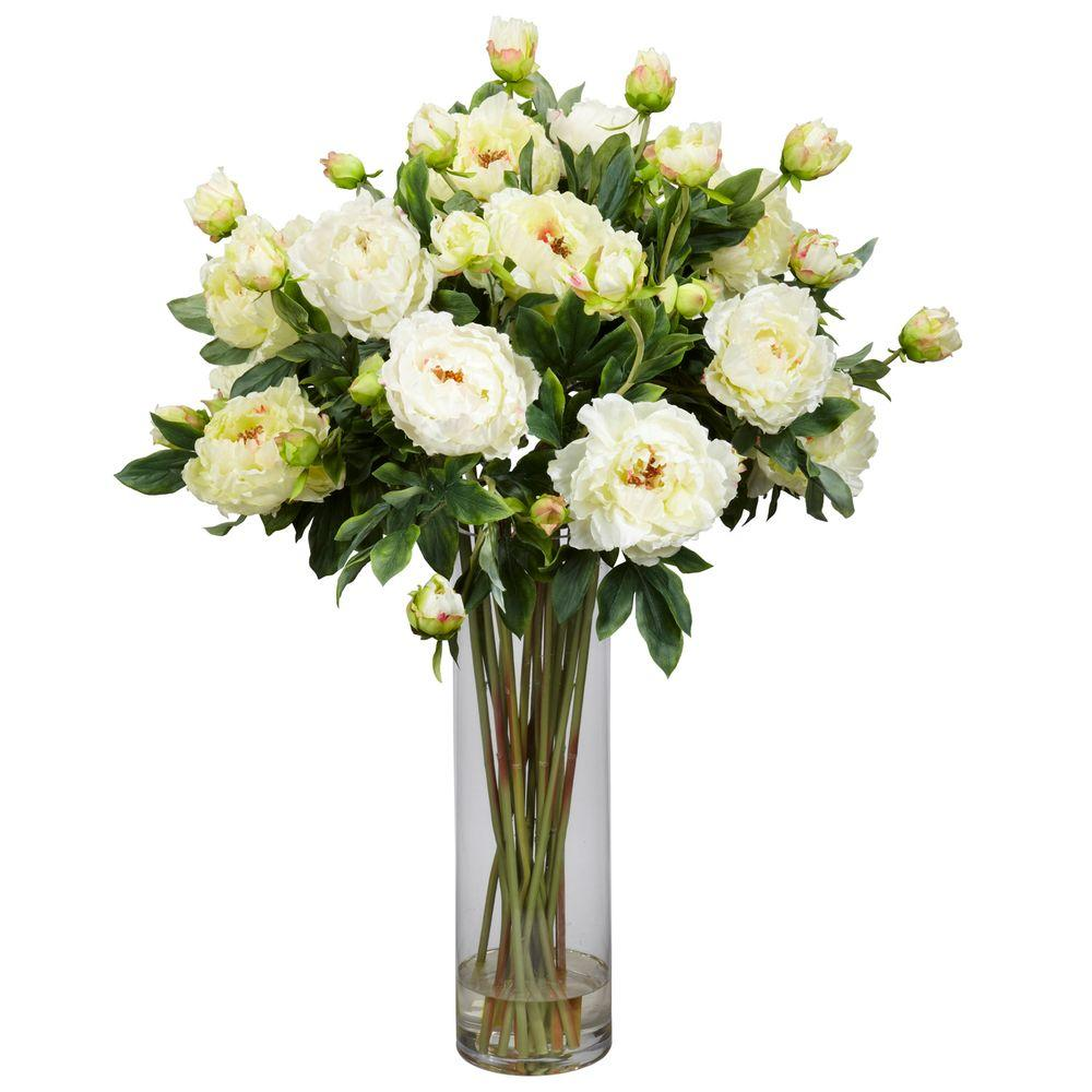 38 In H White Giant Peony Silk Flower Arrangement 1231 Wh The