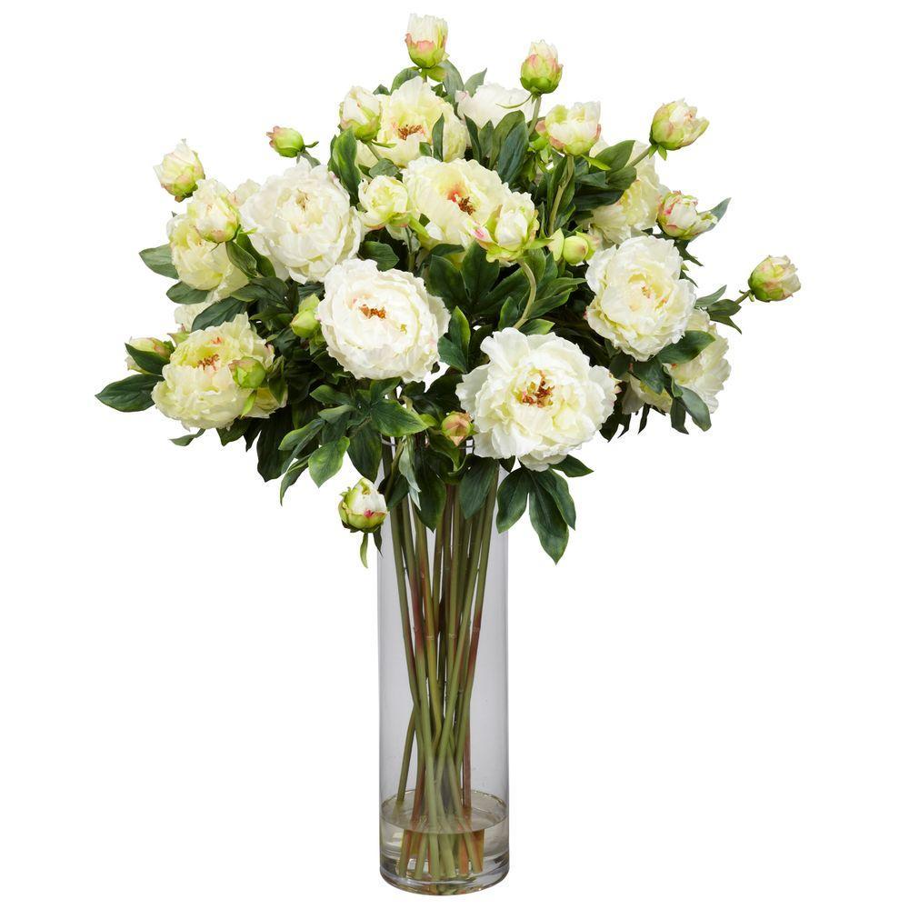 38 in. H White Giant Peony Silk Flower Arrangement