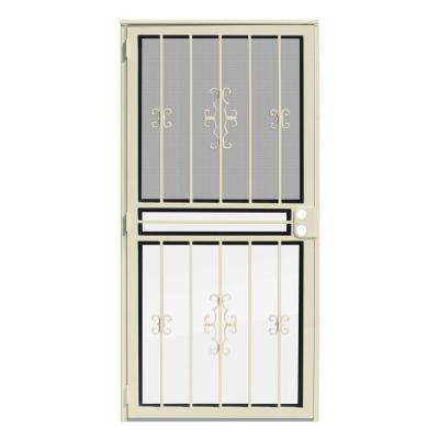 36 in. x 80 in. Watchman Duo Almond Recessed Mount All Season Security Door with Insect Screen and Glass Inserts