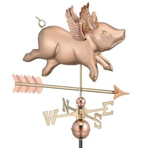 Good Directions Flying Pig with Arrow Weathervane-Pure Copper by Good Directions