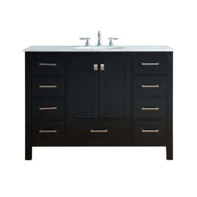 Malibu 48 in. Vanity in Espresso with Marble Vanity Top in Carrara White