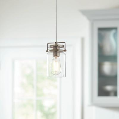 1-Light Mason Jar Brushed Steel Pendant