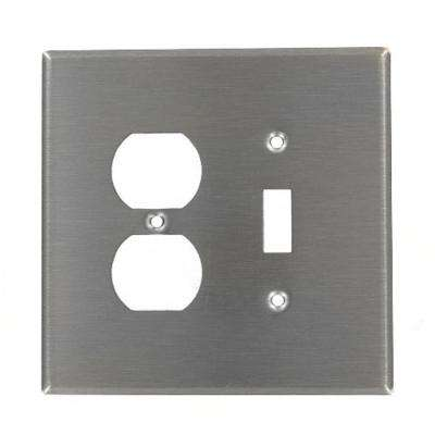 2-Gang Standard Size 1-Toggle 1-Duplex Receptacle Combination Wall Plate, Stainless Steel