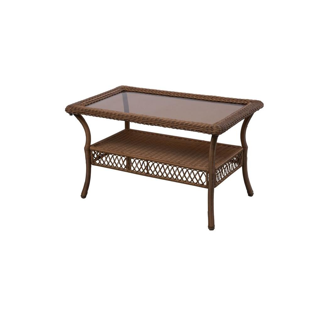 Hampton bay spring haven brown all weather wicker outdoor patio coffee table 66 20305 the home Patio coffee tables