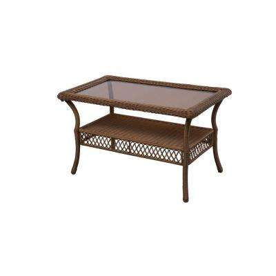 Spring Haven Brown All-Weather Wicker Patio Coffee Table
