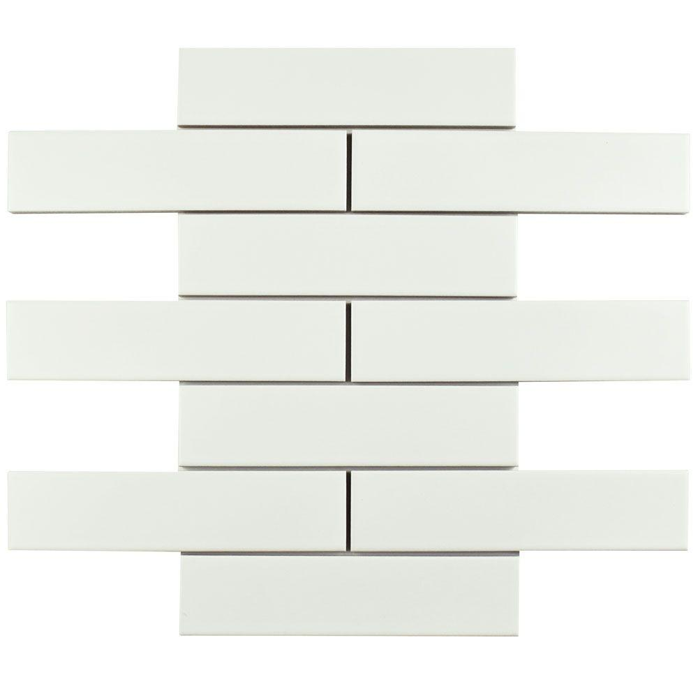 Metro Soho Subway Matte White 1 3 4 In X 7 Porcelain Floor And Wall Tile Sq Ft Pack
