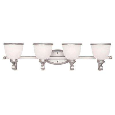 4-Light Pewter Bath Bar Light with White Marble Glass