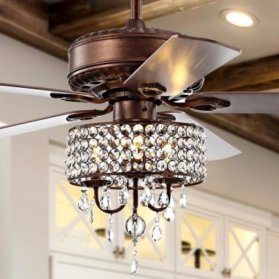 Becky 52 in. Oil Rubbed Bronze 3-Light Crystal LED Chandelier Ceiling Fan with Light and Remote
