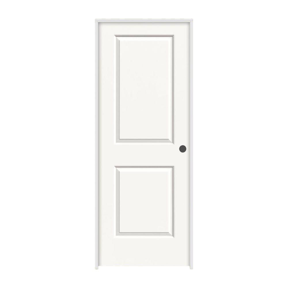 36 in. x 80 in. Cambridge White Painted Left-Hand Smooth Molded