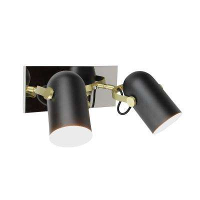 Industrial 2-Light Black Wall Sconce Directional