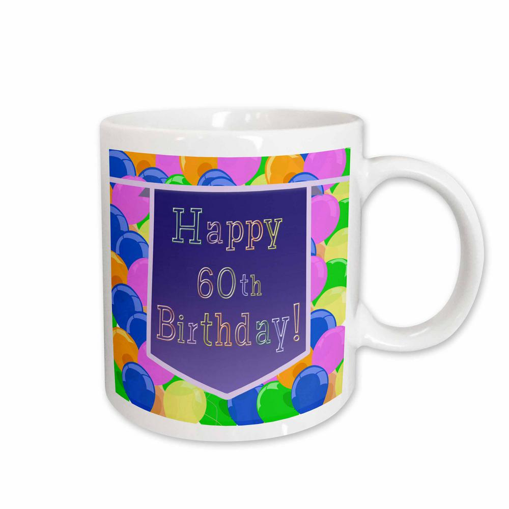 3dRose Beverly Turner Birthday Design Balloons With Purple Banner Happy 60th 11 Oz White Ceramic Coffee Mug 173075 1