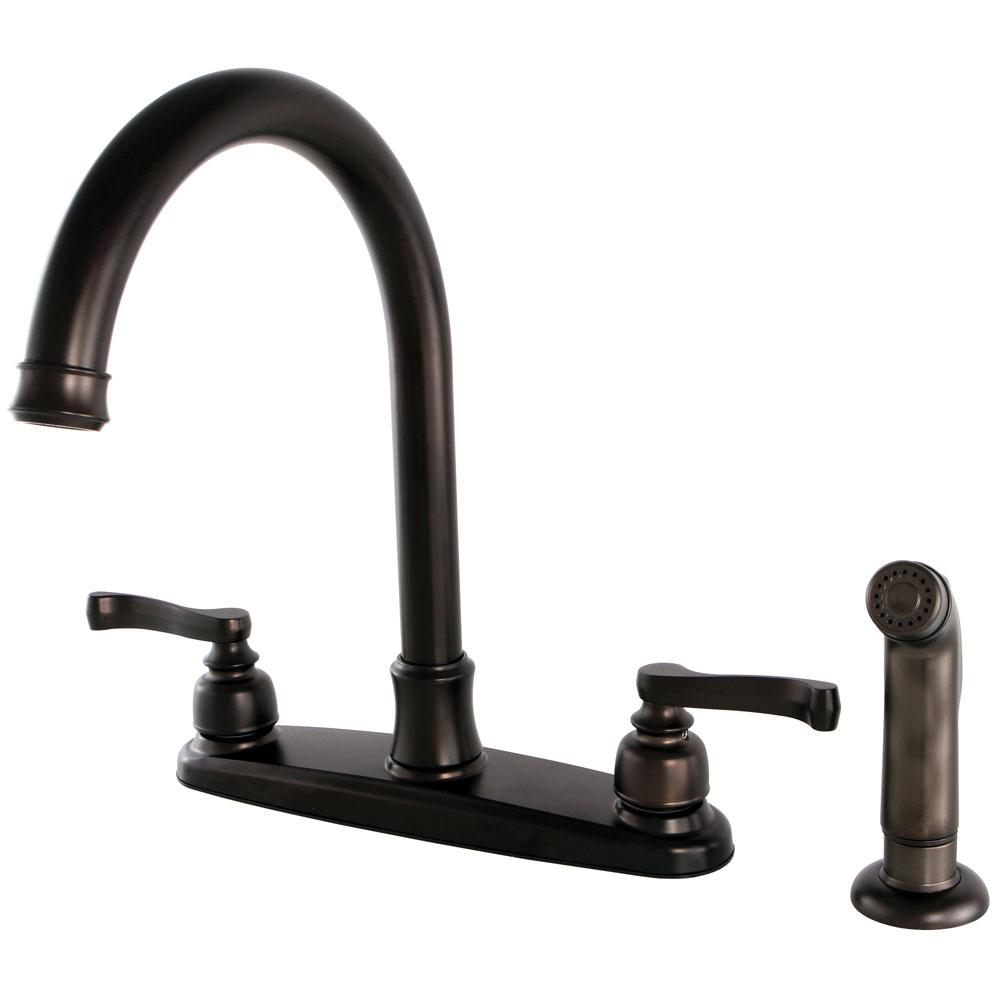 French 2-Handle Standard Kitchen Faucet with Side Sprayer in Oil Rubbed