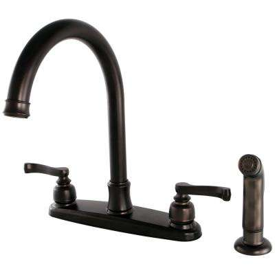 French 2-Handle Standard Kitchen Faucet with Side Sprayer in Oil Rubbed Bronze