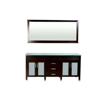 Dayton 73 in. W x 21.5 in. D Vanity in Espresso with Glass Vanity Top in Aqua Green with Drop-In Basin and Mirror