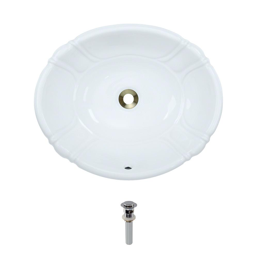Dual-Mount Porcelain Bathroom Sink in White with Pop-Up Drain in Chrome