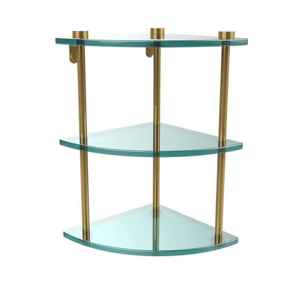 W 3-Tier Corner Clear Glass Bathroom Shelf in Unlacquered Brass