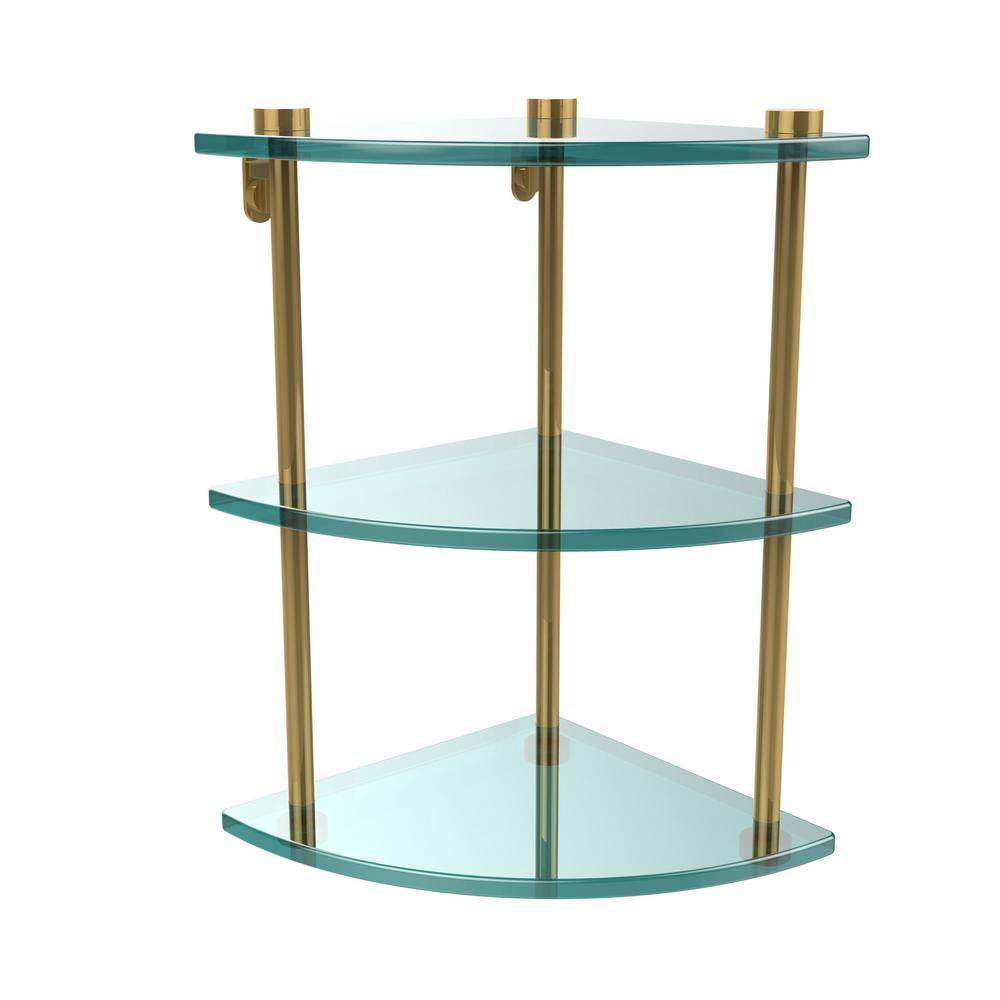 8 in. L  x 15 in. H  x 8 in. W 3-Tier Corner Clear Glass Bathroom Shelf in Unlacquered Brass