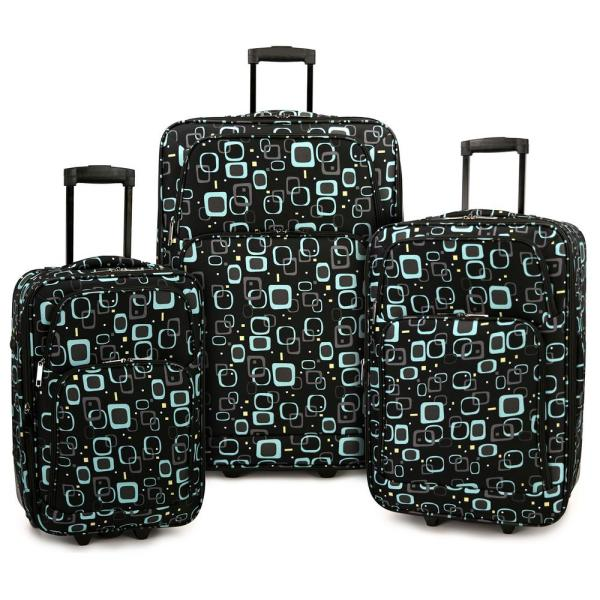 Retro Square 3-Piece Expandable Rolling Luggage Set