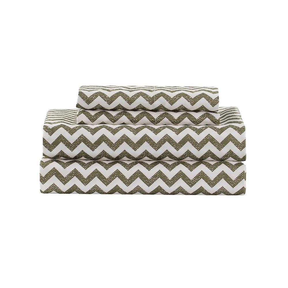 Casey Chevron Micro Taupe King Sheet Set