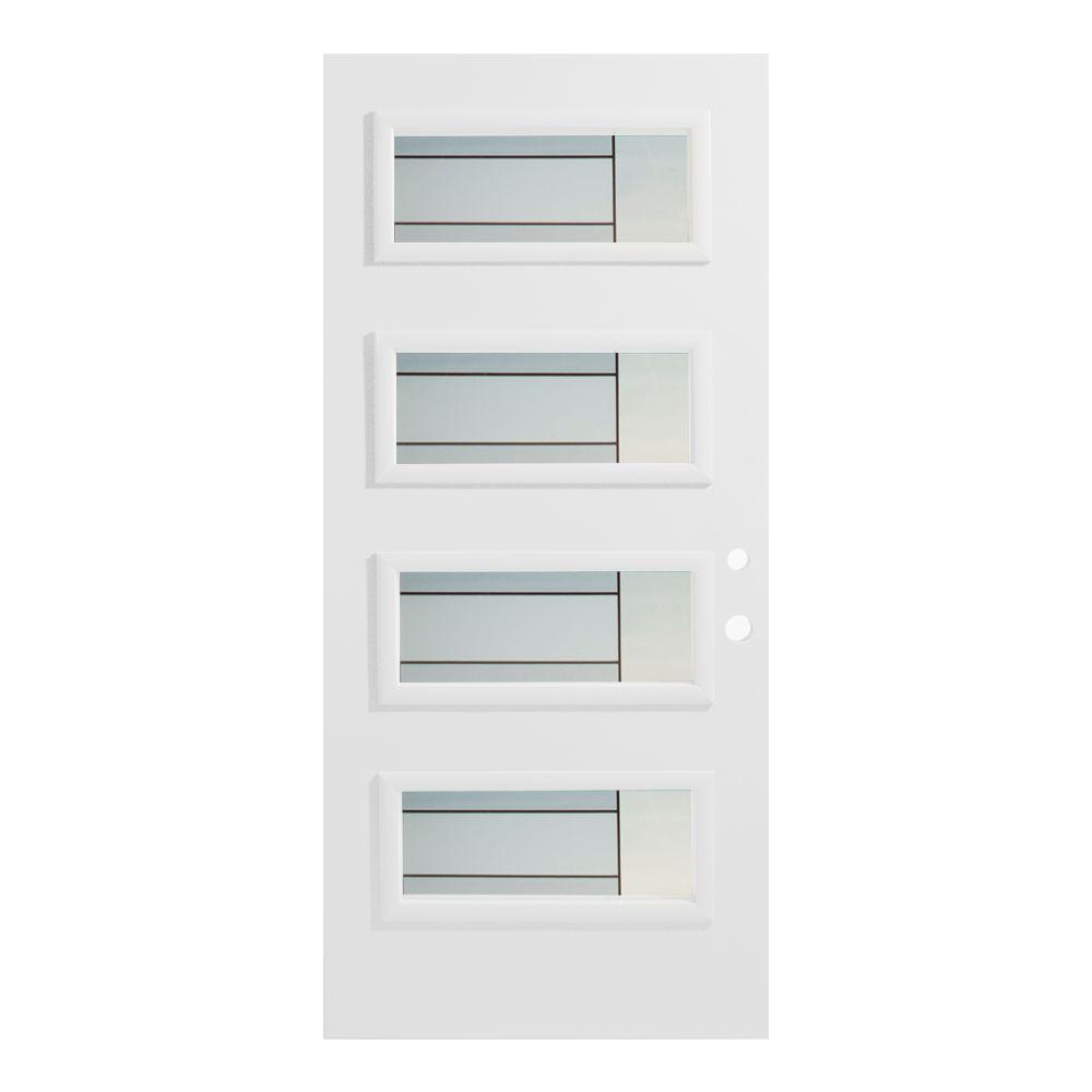32 in. x 80 in. Louise 4 Lite Painted White Left-Hand