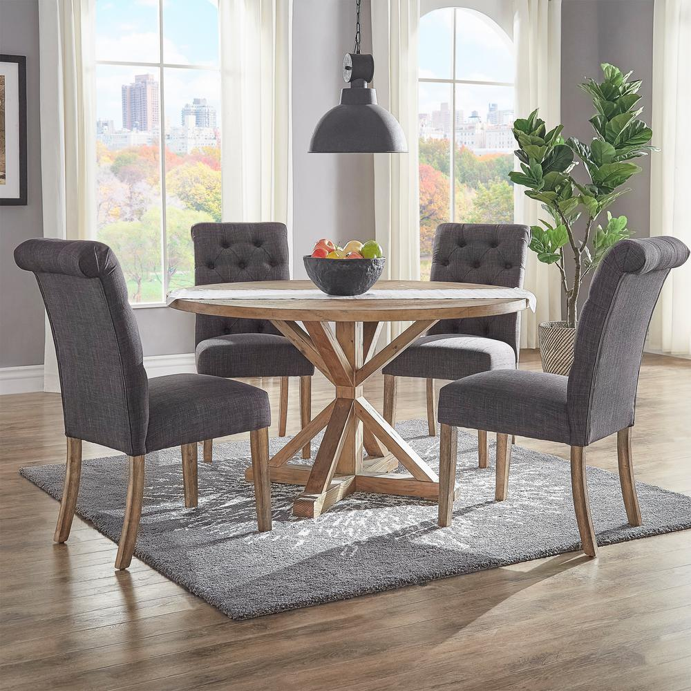 huntington dark grey linen button tufted dining chair set of 2