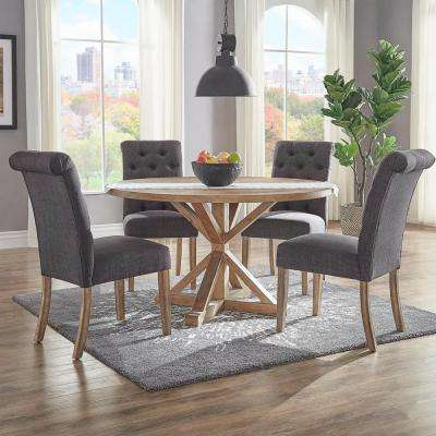 Huntington Dark Grey Linen Button Tufted Dining Chair (Set Of 2)