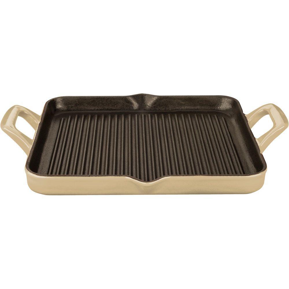 La Cuisine 1 Qt. Cast Iron Rectangular Grill Pan with Cream Enamel by La Cuisine