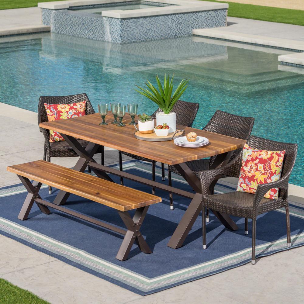 Multi-Brown 6-Piece Wicker, Wood and Metal Rectangular Outdoor Dining Set