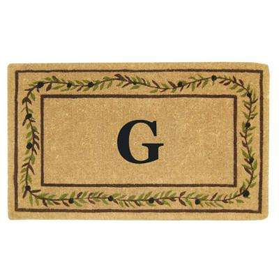 Olive Branch Border 22 in. x 36 in. Heavy Duty Coir Monogrammed G Door Mat