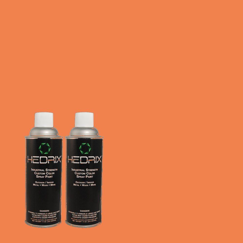 Hedrix 11 oz. Match of 8392 Mandarin Coral Gloss Custom Spray Paint (2-Pack)