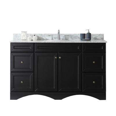 Talisa 60 in. W Bath Vanity in Espresso with Marble Vanity Top in White with Round Basin
