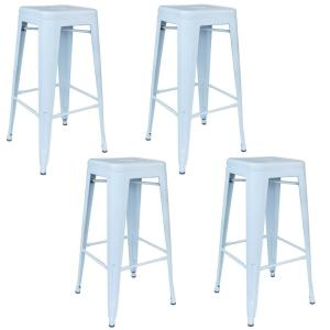 Loft Series 30 in. White Indoor/Outdoor Stackable Anti-Rust Coated Metal Bar Stool (Set of 4)