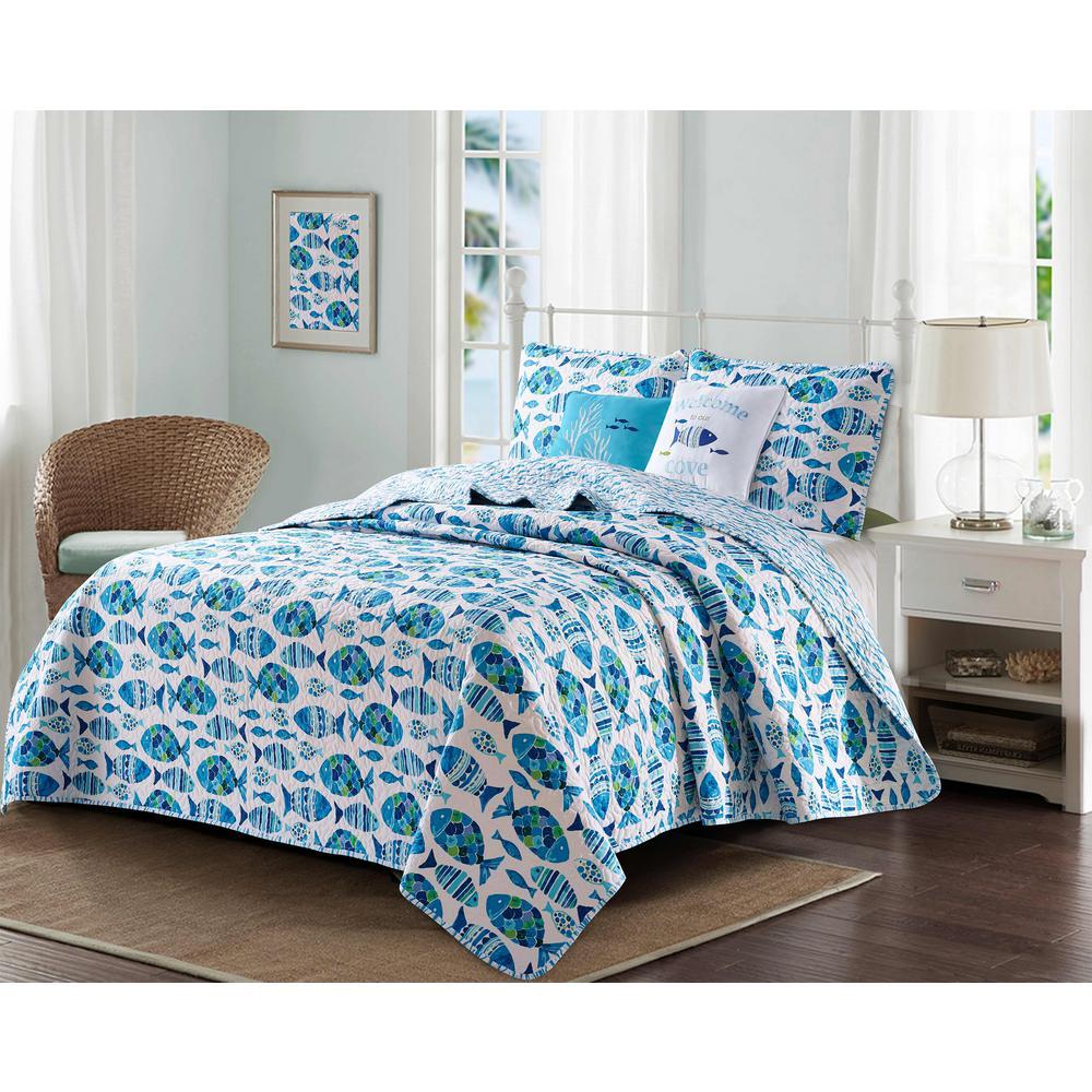 3-Piece Blue Welcome Cove Coastal Reversible Microfiber Full/Queen Quilt Set
