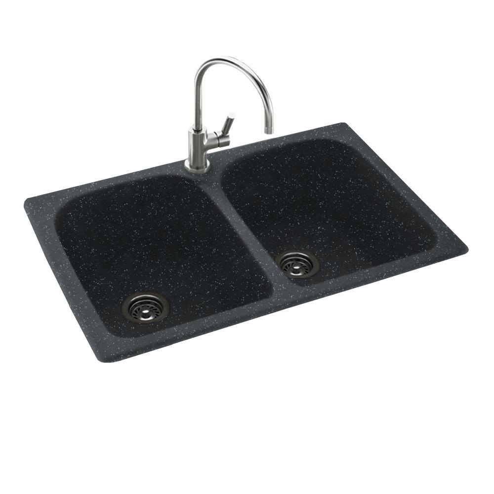 Swan Drop In Undermount Solid Surface 33 In 1 Hole 50 50