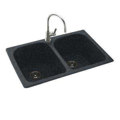Drop-In/Undermount Solid Surface 33 in. 1-Hole 50/50 Double Bowl Kitchen Sink in Black Galaxy