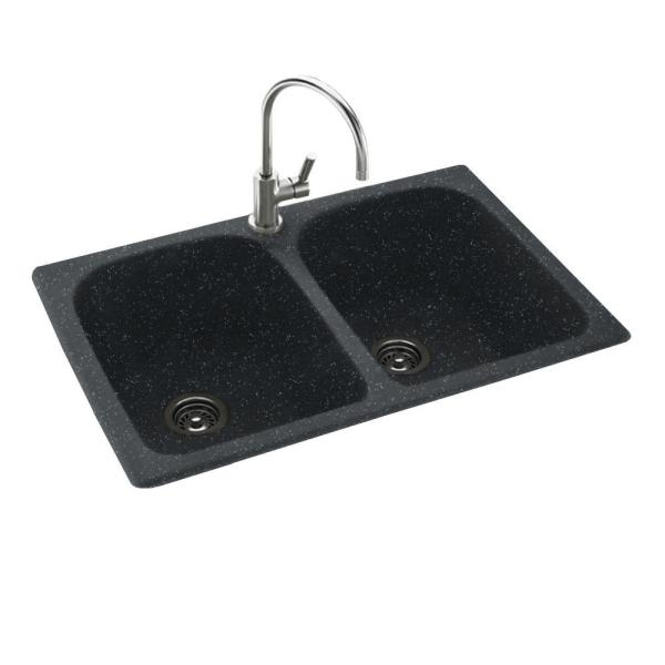 Swan Drop-In/Undermount Solid Surface 33 in. 1-Hole 50/50 Double Bowl Kitchen Sink in Black Galaxy