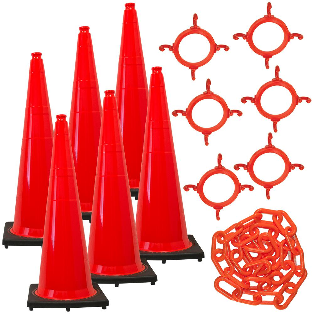 Mr. Chain 36 in. Traffic Orange Traffic Cone and Chain Kit