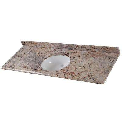 61 in. W x 22 in. D Stone Effects Single Sink Vanity Top in Rustic Gold with White Sink