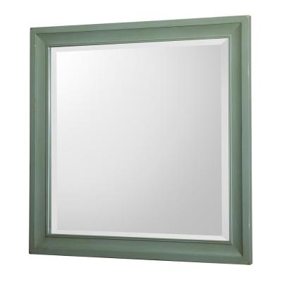 30 in. W x 30 in. H Framed Square  Bathroom Vanity Mirror in Antique Green