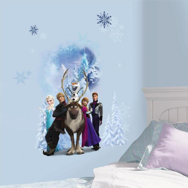 . 2 5 in  x 21 in  Disney Frozen Character Winter Burst Peel and Stick Giant  Wall Decal  7 Piece